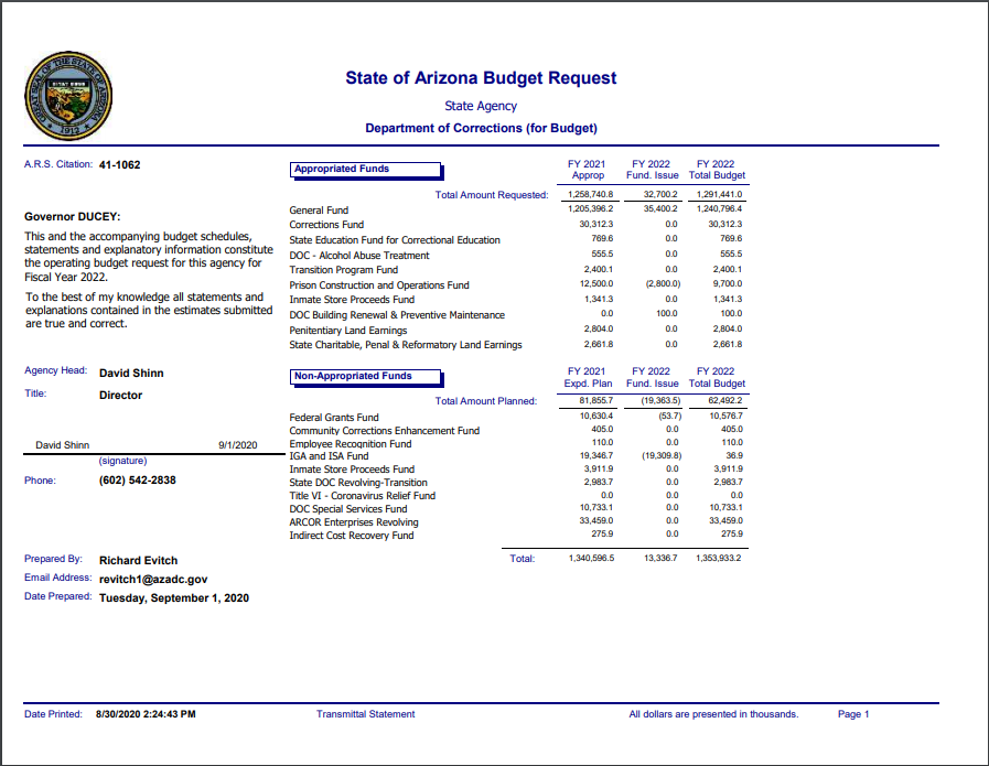 ADCRR FY2022 Budget Request Summary